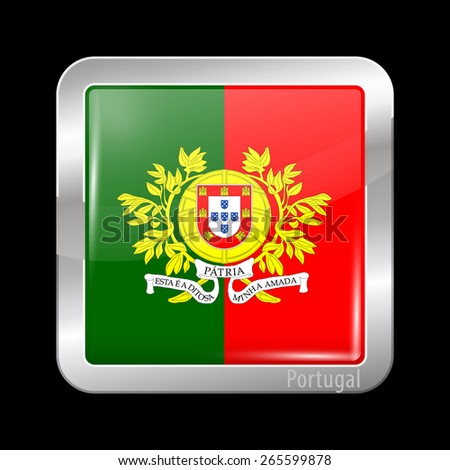 Flag of Portugal. Metal Icons Square Shape. This is File from the Collection European Flags - stock vector