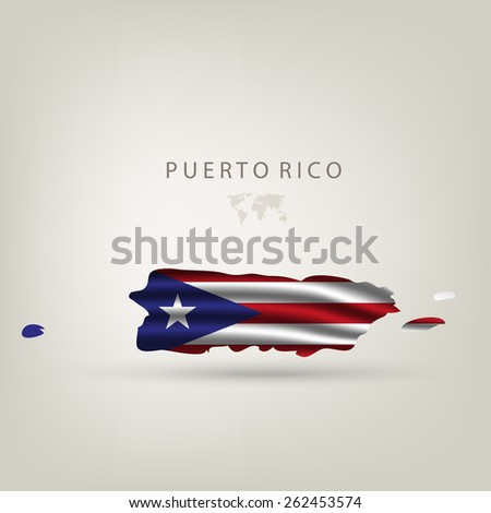 Flag of PUERTO RICO as a country with shadow - stock vector