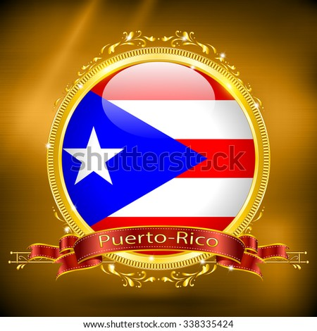 Flag of Puerto-Rico in GOLD, vector illustration - stock vector
