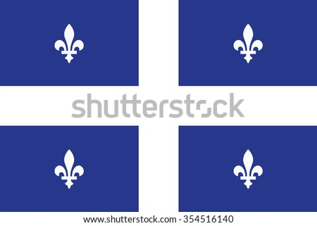 Flag of Quebec Province or territory of Canada. Vector illustration. - stock vector