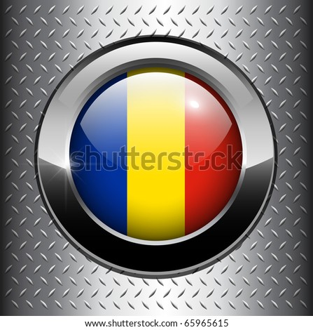 Flag of Romania button on metal background, vector.
