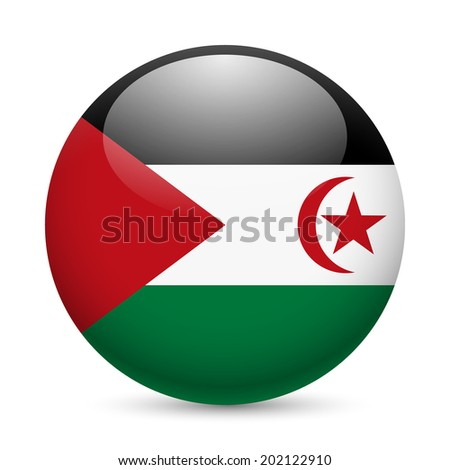 Flag of Sahrawi Arab Democratic Republic as round glossy icon. Button with flag design - stock vector