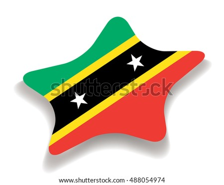 Flag of Saint Kitts and Nevis. Vector illustration. Star with shadow. Element for infographics.