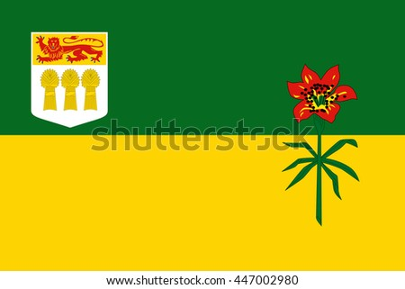 Flag of Saskatchewan Province or territory of Canada. Vector illustration. - stock vector