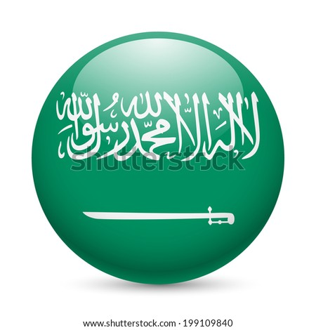 Flag of Saudi Arabia as round glossy icon. Button with flag design - stock vector