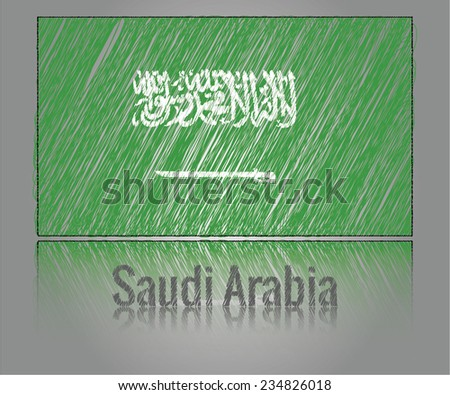 Flag of Saudi Arabia from creative scribbled lines, vector art