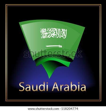 Flag of Saudi Arabia on the black background - stock vector