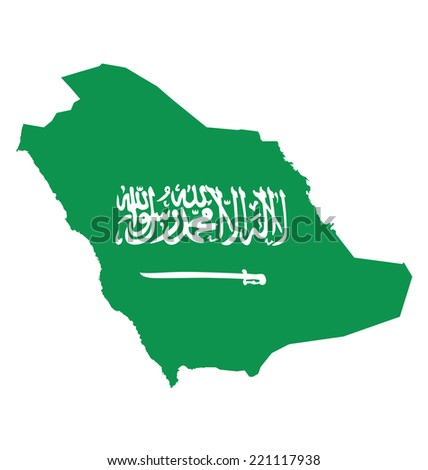 Flag of Saudi Arabia overlaid on outline map isolated on white background translation of Arabic script there is no God but God and Muhammad is the messenger of God - stock vector