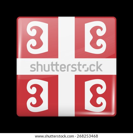 Flag of Serbia. Glossy Icons Square Shape. This is File from the Collection European Flags - stock vector