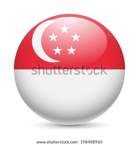 Flag of Singapore as round glossy icon. Button with Singaporean flag - stock vector
