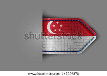 Flag of Singapore in the form of a glossy textured label or bookmark. Vector illustration. - stock vector