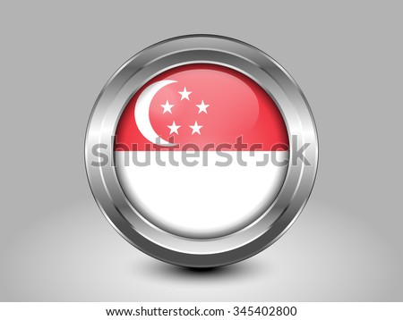 Flag of Singapore. Metal Round Icons. This is File from the Collection Asian Flags - stock vector