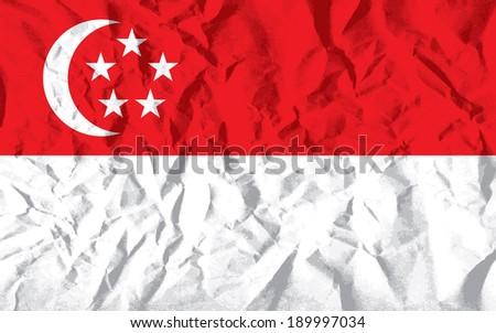 Flag of Singapore on wrinkled paper vector illustration. - stock vector