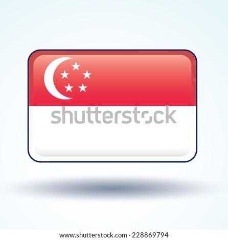 Flag of Singapore, vector illustration - stock vector