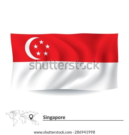 Flag of Singapore - vector illustration - stock vector