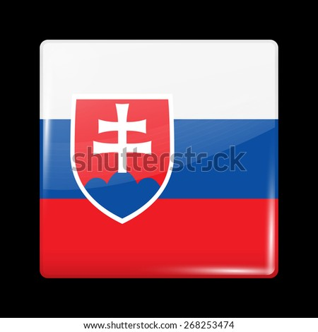 Flag of Slovakia. Glossy Icons Square Shape. This is File from the Collection European Flags - stock vector