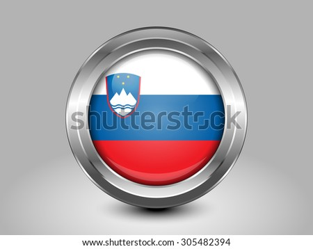 Flag of Slovenia. Metal Round Icons. This is File from the Collection European Flags - stock vector