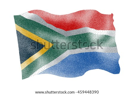 Flag of South Africa - Vector stippled illustration