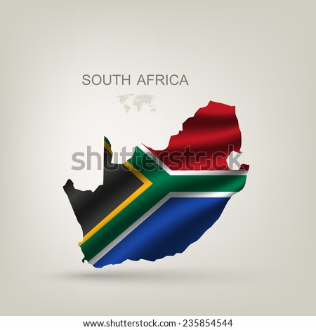 Flag of South African Republic to a country with a shadow - stock vector