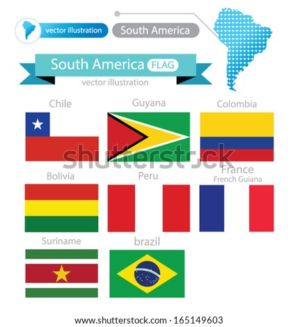 Flag of South america. vector Illustration.
