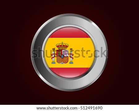 Flag of Spain in shiny circle