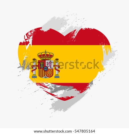 Flag of Spain isolated on grunge heart. Vector illustration