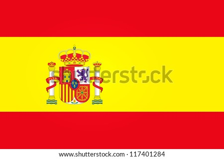 Flag of Spain with Emblem - stock vector