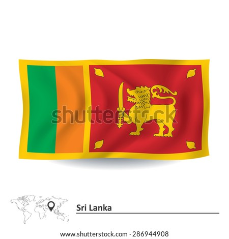 Flag of Sri Lanka - vector illustration - stock vector