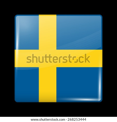 Flag of Sweden. Glossy Icons Square Shape. This is File from the Collection European Flags - stock vector