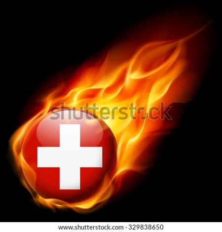 Flag of Switzerland as round glossy icon burning in flame - stock vector