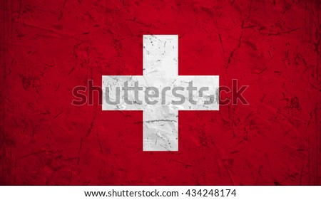 Flag of Switzerland or Swiss banner on vintage background. - stock vector