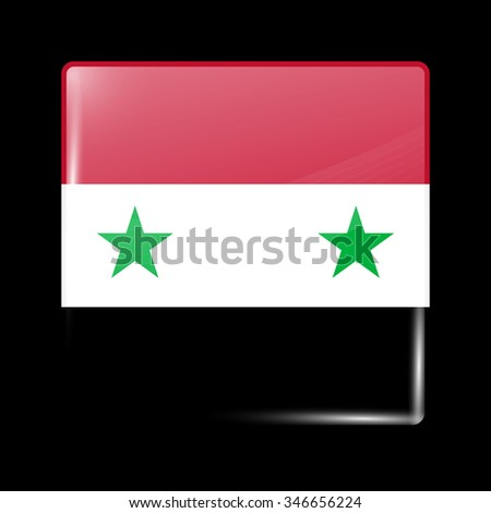 Flag of Syria. Glassy Icon Square Shape. This is File from the Collection Flags of Asia - stock vector