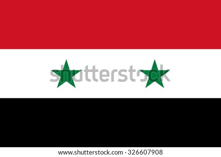 Flag of Syria. The official state symbol of the Syrian Arab Republic. Correct colors, sizes and proportions. Three stripes - red, white black. For political articles and news about Syria. - stock vector