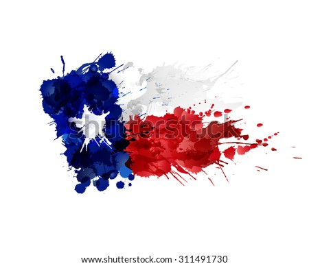 Flag of Texas made of colorful splashes - stock vector
