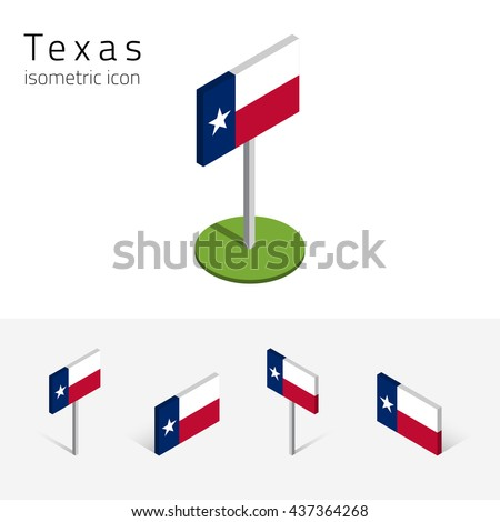 Flag of Texas (State of Texas, USA), vector set of isometric flat icons, 3D style, different views. Editable design element for banner, website, presentation, infographic, poster, map, collage. Eps 10 - stock vector