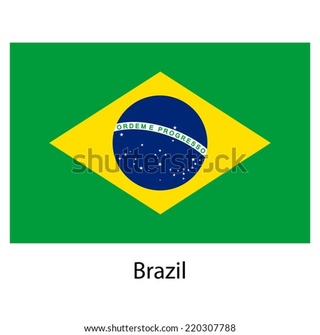 Flag  of the country  brazil. Vector illustration.  Exact colors.  - stock vector