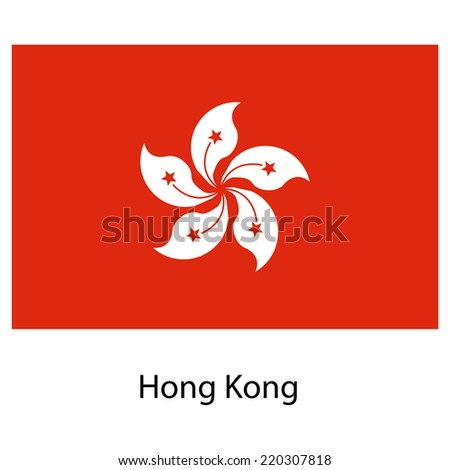 Flag  of the country hong kong. Vector illustration.  Exact colors.
