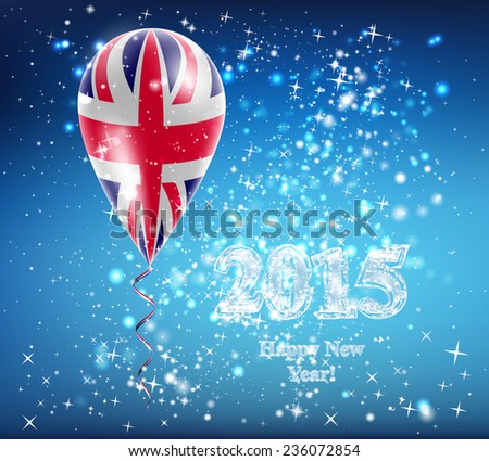 Flag of the country in a balloon. The celebration and gifts. Balloon on Happy New Year. Merry Christmas. The sky sparkles with stars and snowflakes. Vector. Icon. UK flag - stock vector