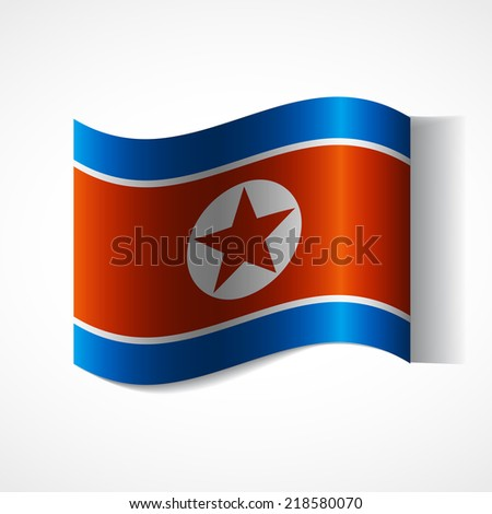 Flag of the country in waveform. Flag fluttering in the wind. Ribbon in the colors of the flag are twisted. Independence Day. Visit to the country. News. Flag of the Democratic People's Republic - stock vector