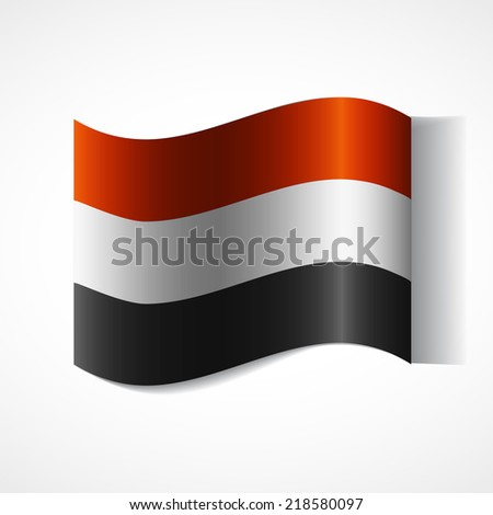 Flag of the country in waveform. Flag fluttering in the wind. Ribbon in the colors of the flag are twisted. Independence Day. Visit to the country and learn the language. News. Flag of Yemen