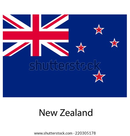 Flag  of the country  new zeland. Vector illustration.  Exact colors.  - stock vector