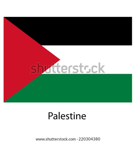 Flag  of the country  palestine. Vector illustration.  Exact colors.  - stock vector