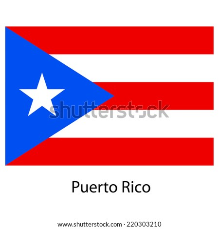 Flag  of the country  puerto rico. Vector illustration.  Exact colors.  - stock vector