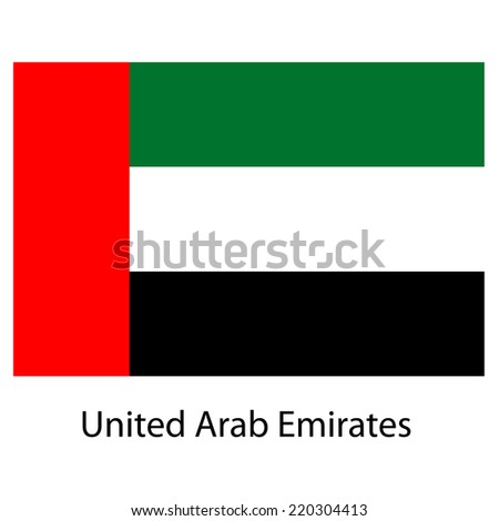 Flag  of the country  united arab emirates. Vector illustration.  Exact colors.