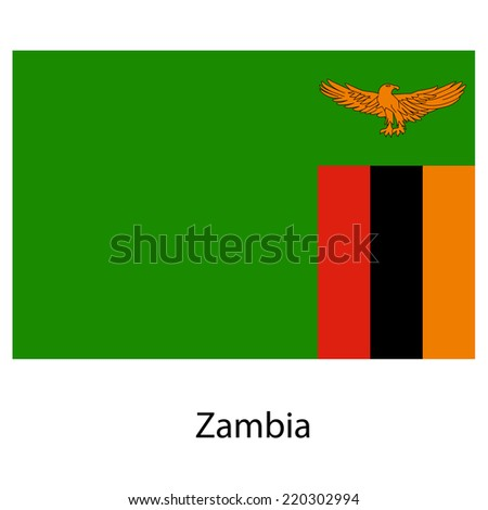 Flag  of the country  zambia. Vector illustration.  Exact colors.  - stock vector