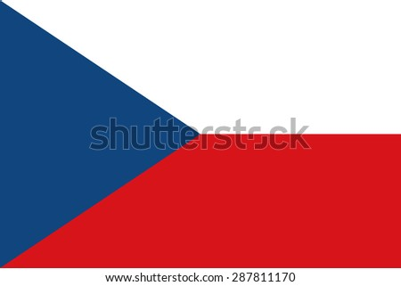 Flag of the Czech Republic. Official state symbol. Correct size, shape and color. Blue triangle and two bands - white and red. Symbol for political maps and articles. - stock vector