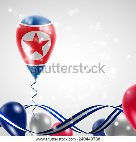 Flag of the Democratic People's Republic on balloon. Celebration and gifts. Ribbon in the colors of the flag are twisted under the balloon. Independence Day. Balloons on the feast of the national day - stock vector