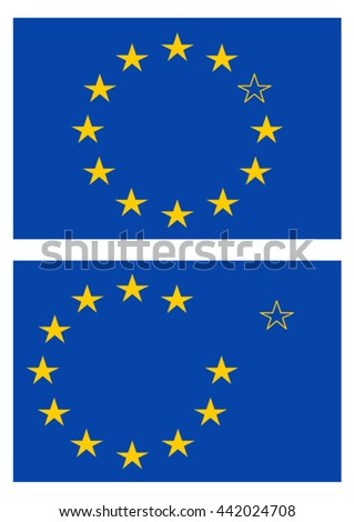 Flag of the European Union with one star turned off and one star leaving. Set of two flags.