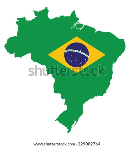 Flag of the Federative Republic of Brazil overlaid on detailed outline map isolated on white background  - stock vector