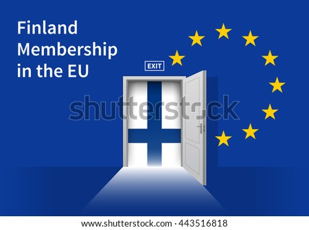 Flag of the Finland and the European Union. Finland Flag and EU Flag. Abstract Finland exit in a wall - stock vector